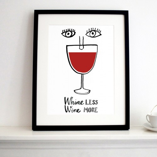 Wine less Wine More print black frame