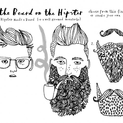 hipster postcards beards